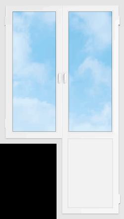 Пластиковый окно с дверью